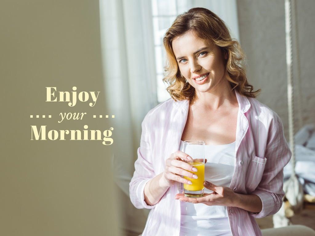 Woman enjoying Morning with Juice — Создать дизайн