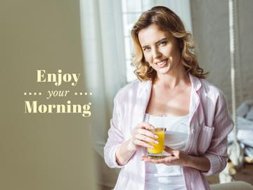 Woman enjoying Morning with Juice