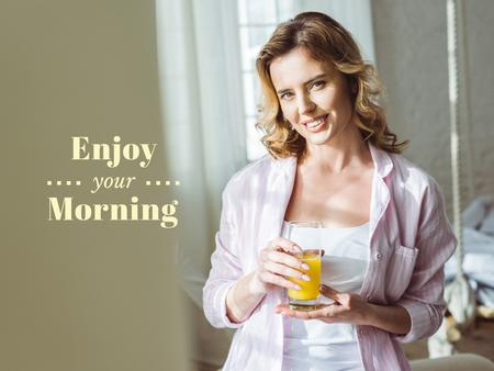 Woman enjoying Morning with Juice Presentation Modelo de Design