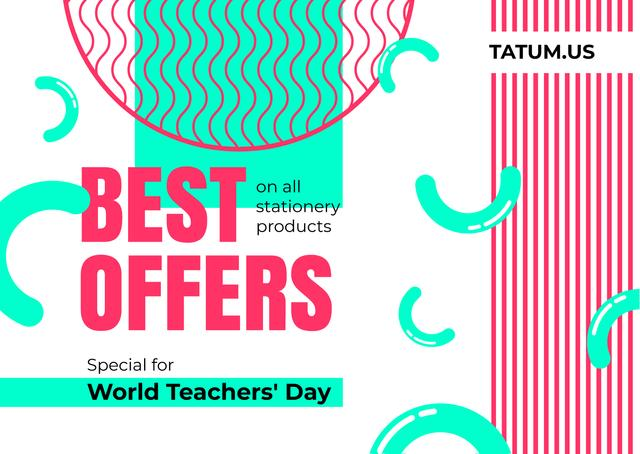 World Teachers' Day Sale Colorful Lines Cardデザインテンプレート