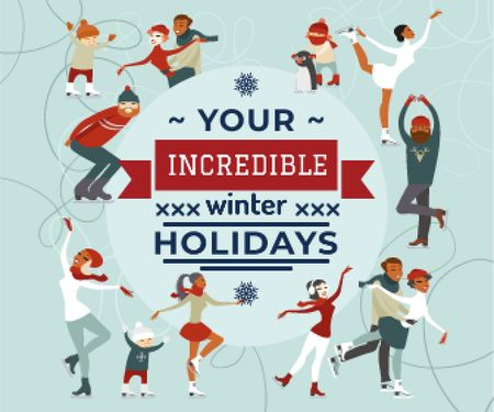Ontwerpsjabloon van Large Rectangle van Incredible winter holidays poster