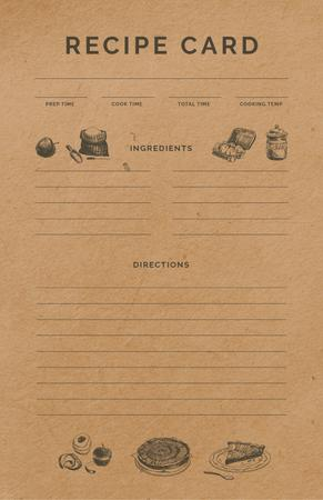 Food Graphic Icons Recipe Card Modelo de Design