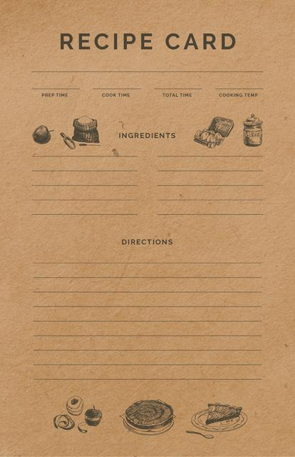 Food Graphic Icons Recipe Card Design Template