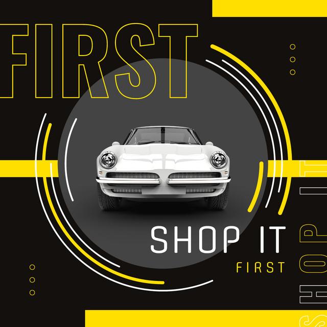 Sale Offer with Shiny white car Instagram Modelo de Design