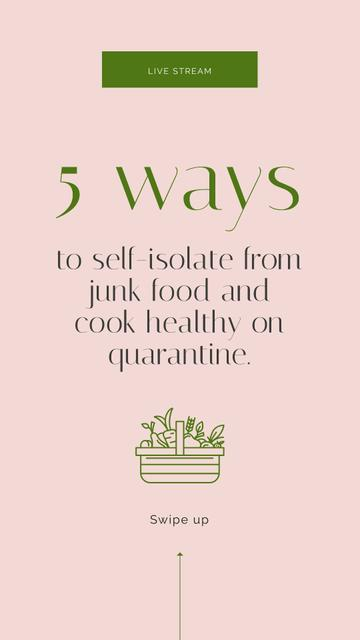 Ways to cook healthy during Quarantine Instagram Story – шаблон для дизайна