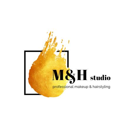Designvorlage Make-Up Studio Ad with Paint Smudge in Yellow für Logo