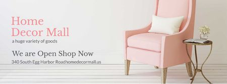 Home Decor Offer with Soft pink armchair Facebook cover Tasarım Şablonu