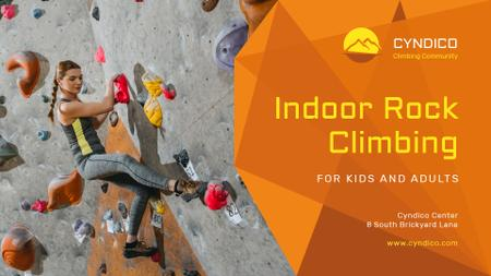 Plantilla de diseño de Climbing Park Ad with Climber on a Wall Presentation Wide
