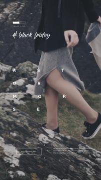 Woman Walking in Mountains | Vertical Video Template