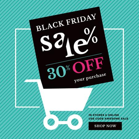Plantilla de diseño de Black Friday Sale Shopping cart Instagram AD