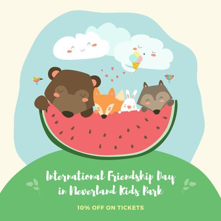 International Friendship Day in Kids Park offer with funny animals Instagram AD Design Template