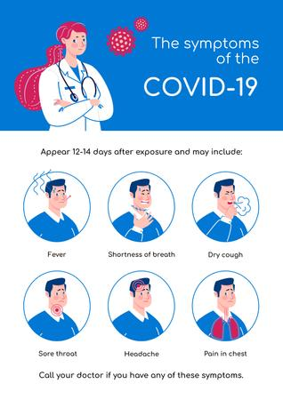 Plantilla de diseño de Covid-19 symptoms with Doctor's advice Poster