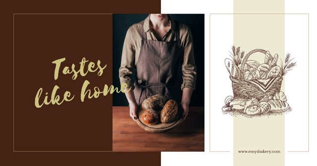 Baker holding bread loaves Facebook AD Design Template