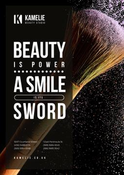 Beauty Quote with Brush and Face Powder