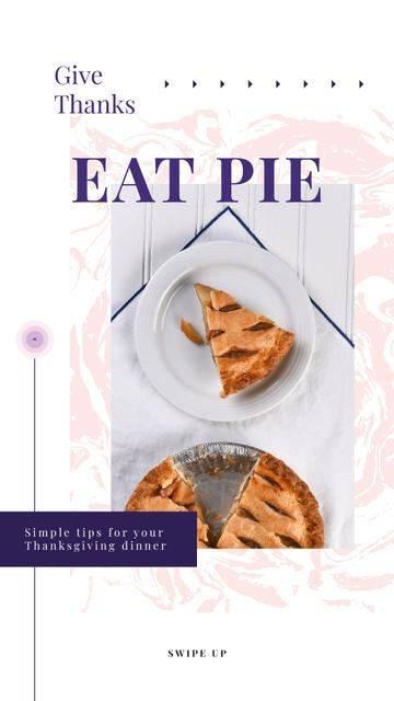 Baked pumpkin pie on Thanksgiving Instagram Story – шаблон для дизайну
