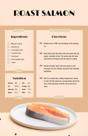 Plantilla de diseño de Raw Salmon steak Recipe Card