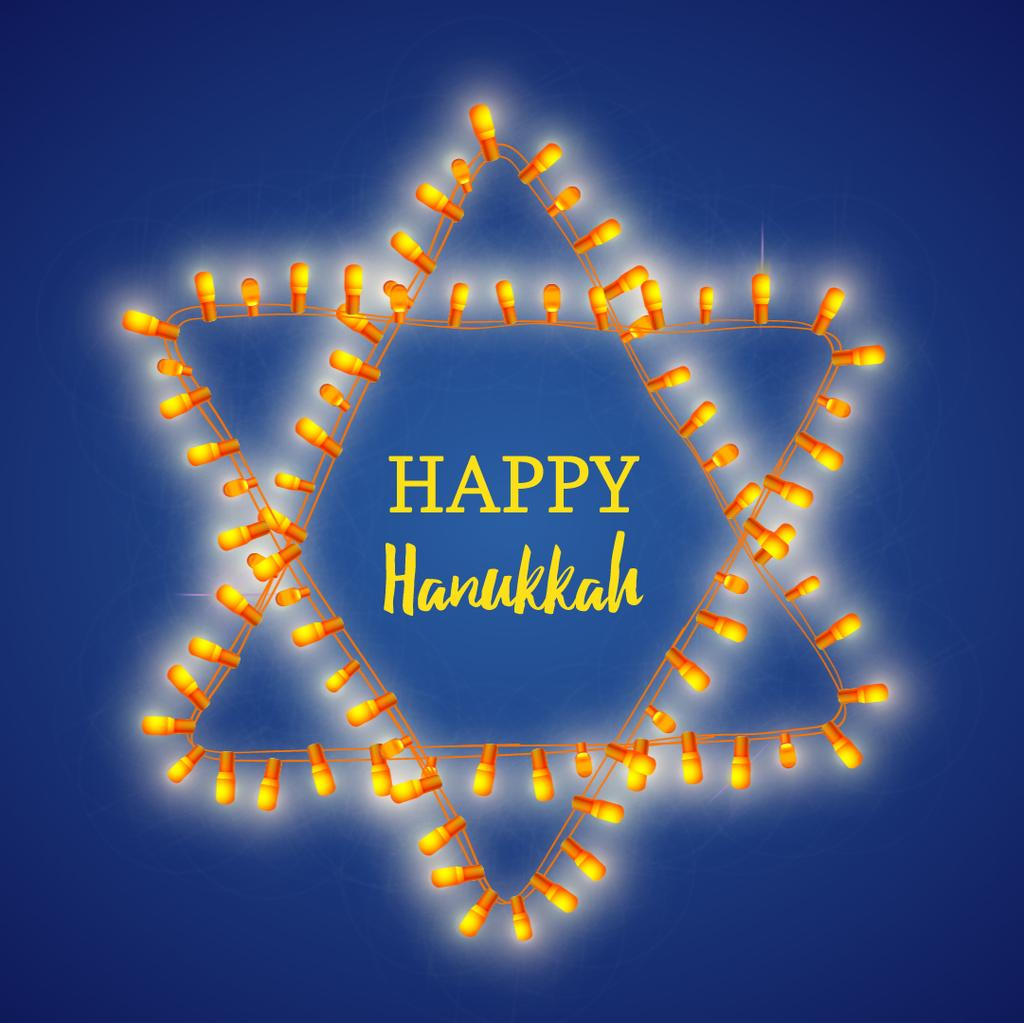Happy Hanukkah greeting with light bulbs — Crear un diseño
