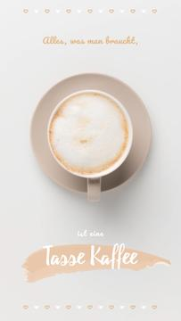 Coffee Shop Invitation Cup of Cappuccino | Vertical Video Template