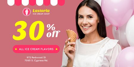 Template di design Ice Cream Shop Offer with Woman with Cone and Balloons Twitter