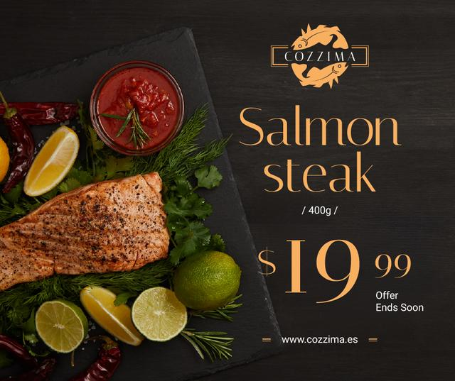 Seafood Offer raw Salmon piece Facebook Modelo de Design