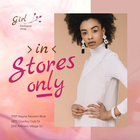 African American Woman in Stylish White Outfit and earrings Animated Post Design Template