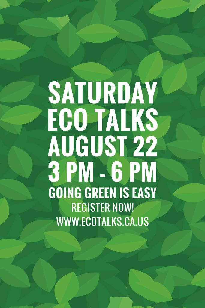 Ecological Event Announcement with Green Leaves Texture — Crea un design