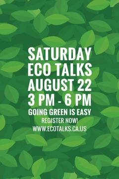 Ecological Event Announcement Green Leaves Texture | Pinterest Template