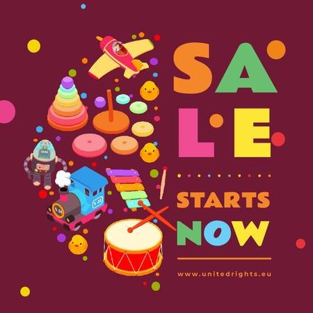 Sale Ad with Toys and musical instruments Animated Post Modelo de Design