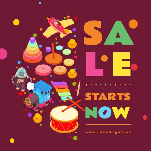 Template di design Sale Ad with Toys and musical instruments Animated Post