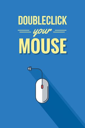 Illustration of Computer Mouse in blue Pinterest – шаблон для дизайна