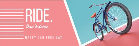 Template di design happy car free day poster with bicycle Twitter