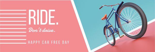 Ontwerpsjabloon van Twitter van happy car free day poster with bicycle