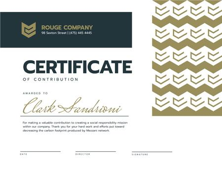 Corporate Contribution Award in golden Certificateデザインテンプレート