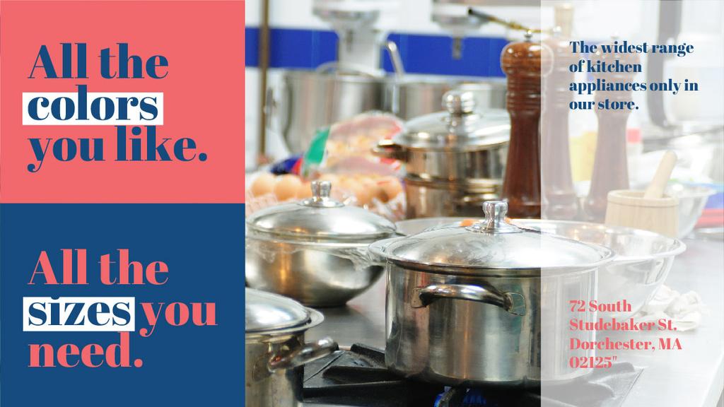 Kitchen Utensils Store Ad Pots on Stove — Maak een ontwerp