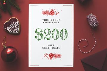 Christmas Gift Offer Shiny Decorations in Red | Gift Certificate Template