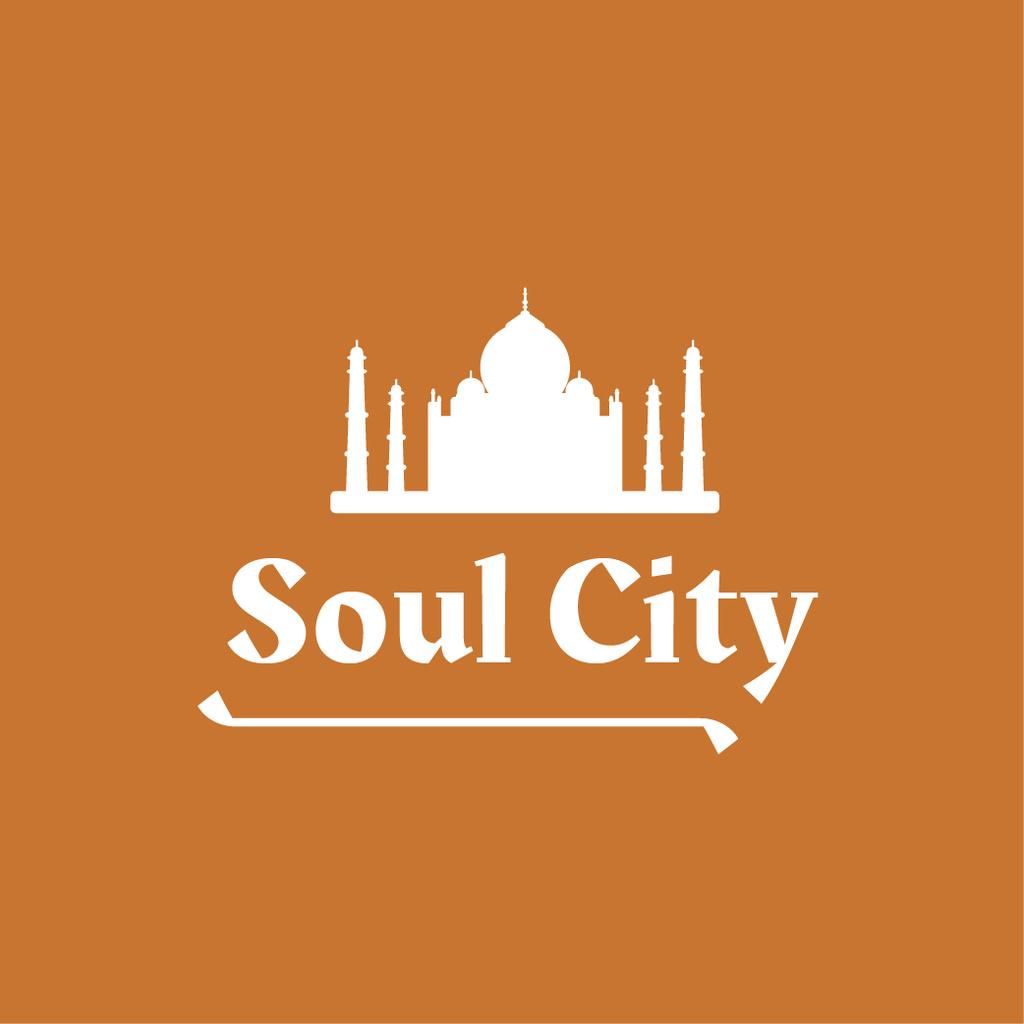 Travelling Tour Ad with Taj Mahal Icon Logo Design Template