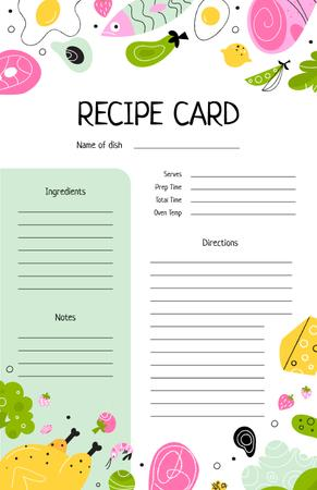 Cute Colourful illustrations of Food Recipe Cardデザインテンプレート