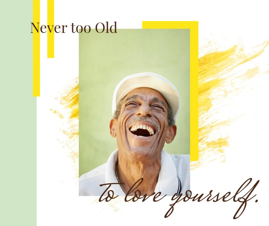Template di design Happiness Quote Laughing Old Man Facebook