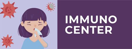 Ontwerpsjabloon van Facebook cover van Immunization Center ad with Woman sneezing