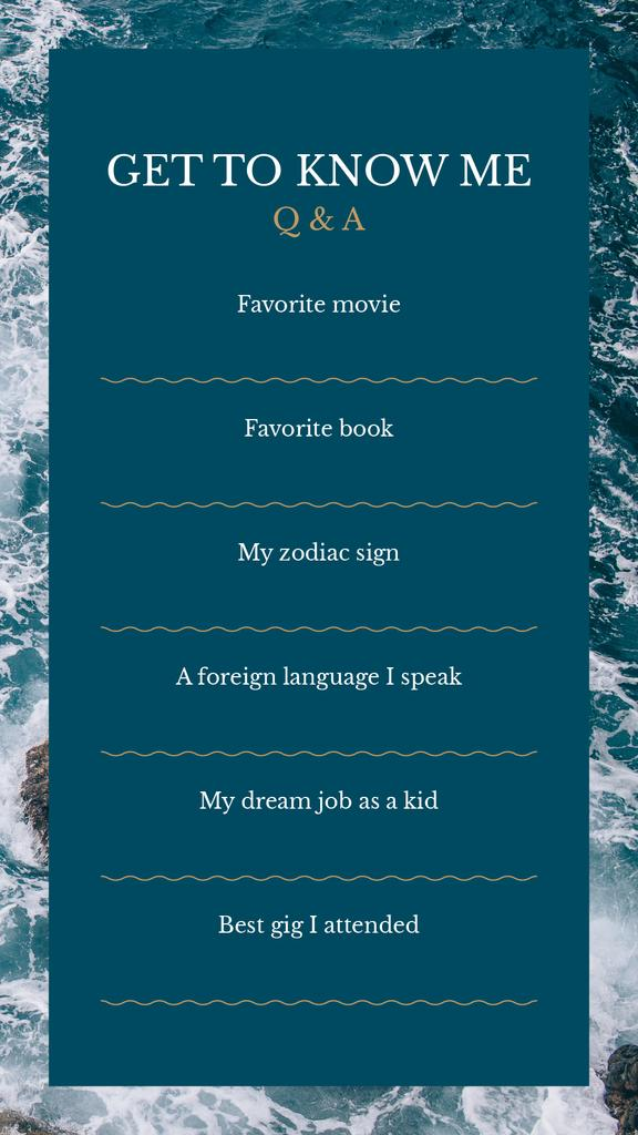 Form Get to Know me in Sea background — Crear un diseño