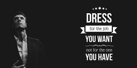 Ontwerpsjabloon van Twitter van Fashion Quote with Businessman Wearing Suit in Black and White
