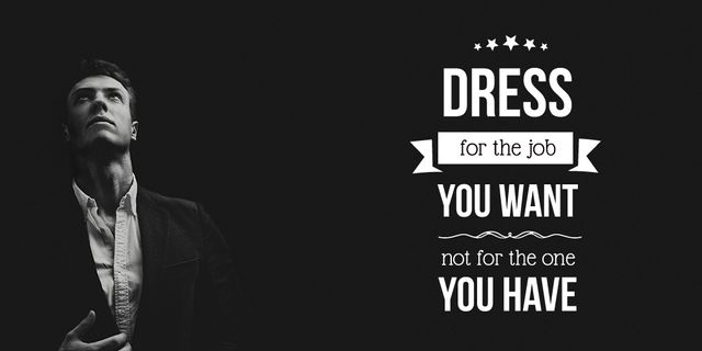 Fashion Quote with Businessman Wearing Suit in Black and White Twitter Design Template