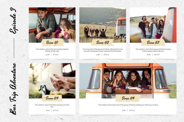 Young Friends travelling by Van Storyboard Design Template