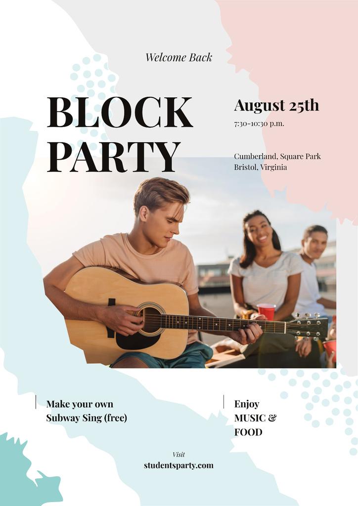 Friends at party with guitar — ein Design erstellen