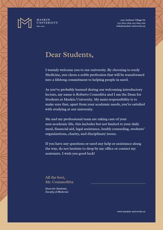 Ontwerpsjabloon van Letterhead van University official welcome greeting