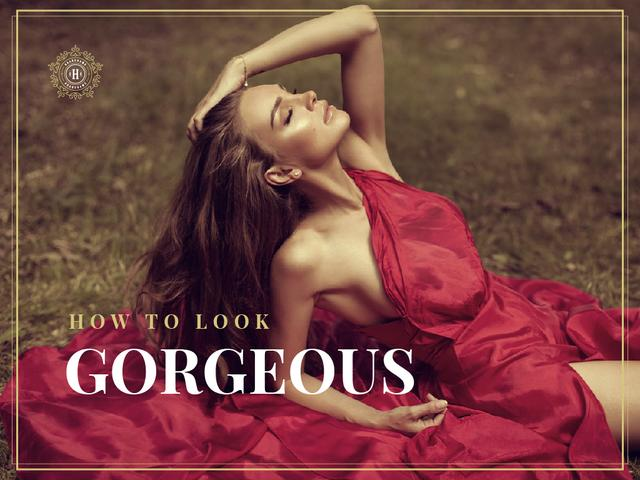 Beautiful Woman in Red Dress Presentation Design Template