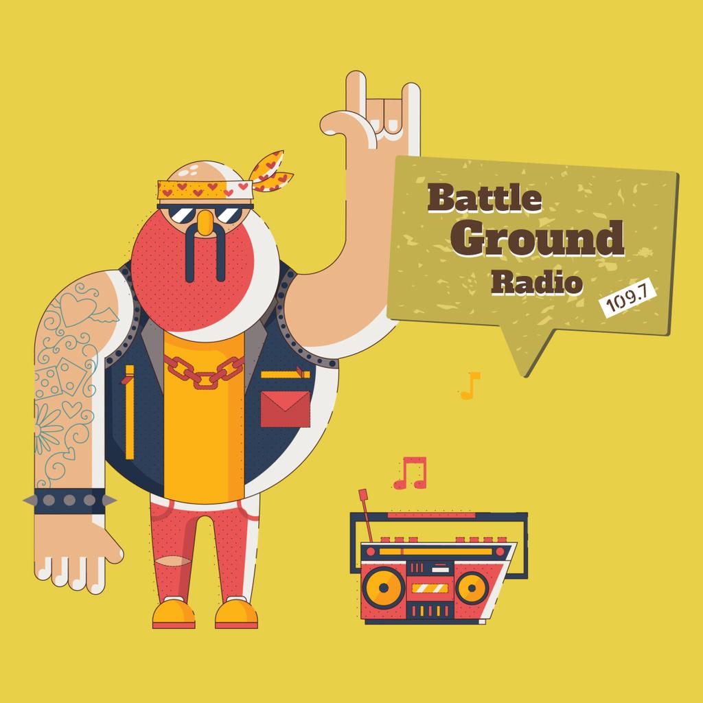 Rocker listening to Boombox — Crear un diseño