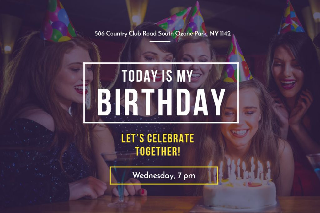 Birthday Party Girl Blowing Candles on Cake | Gift Certificate Template — Create a Design