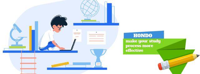 Plantilla de diseño de Boy studying with laptop Facebook Video cover