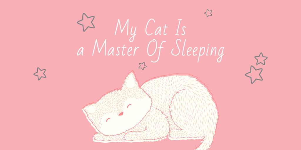 Cute Cat Sleeping in Pink Image – шаблон для дизайна
